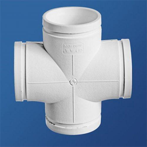 平面四通丨45°异径斜三通丨HDPE沟槽式连接静音管