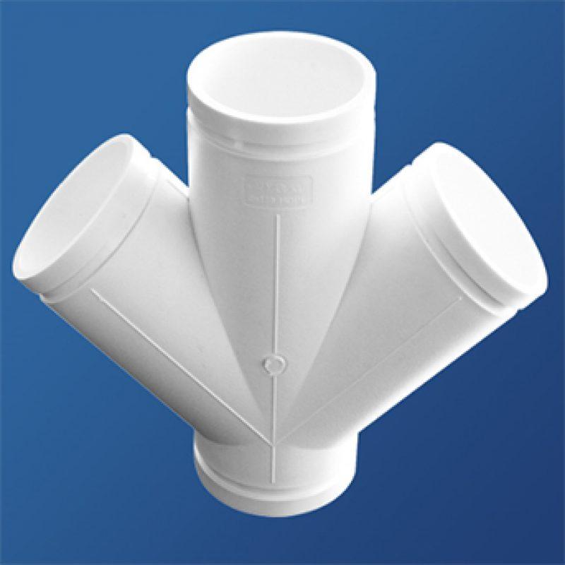 平面斜四通丨压环(卡箍)丨HDPE沟槽式连接静音管