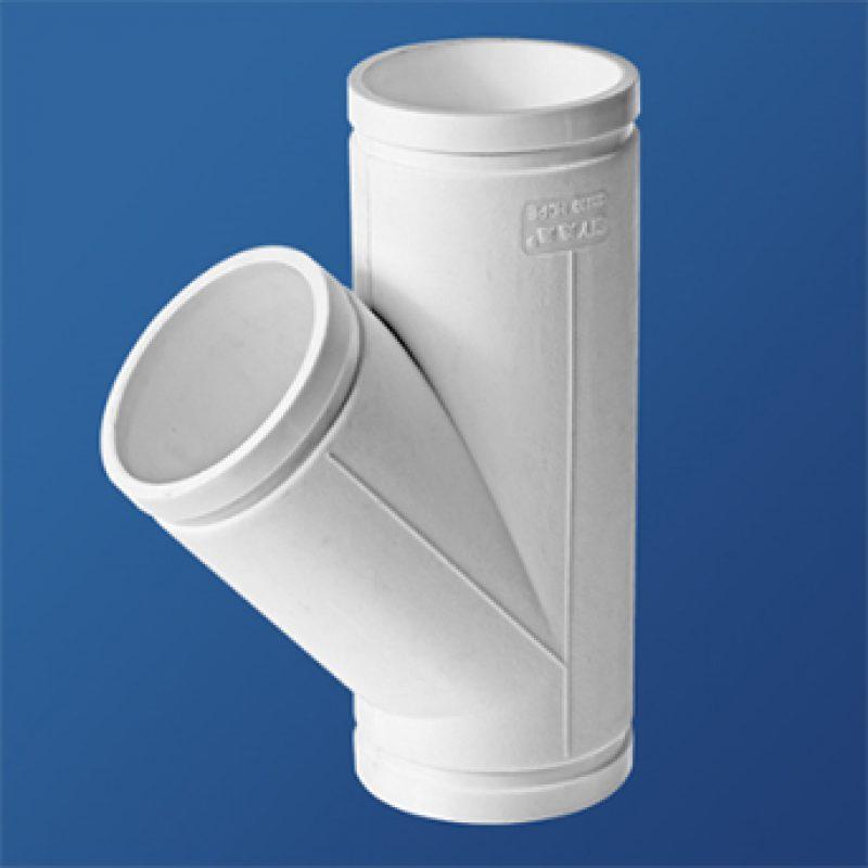 45°斜三通丨异径顺水三通丨HDPE沟槽式连接静音管