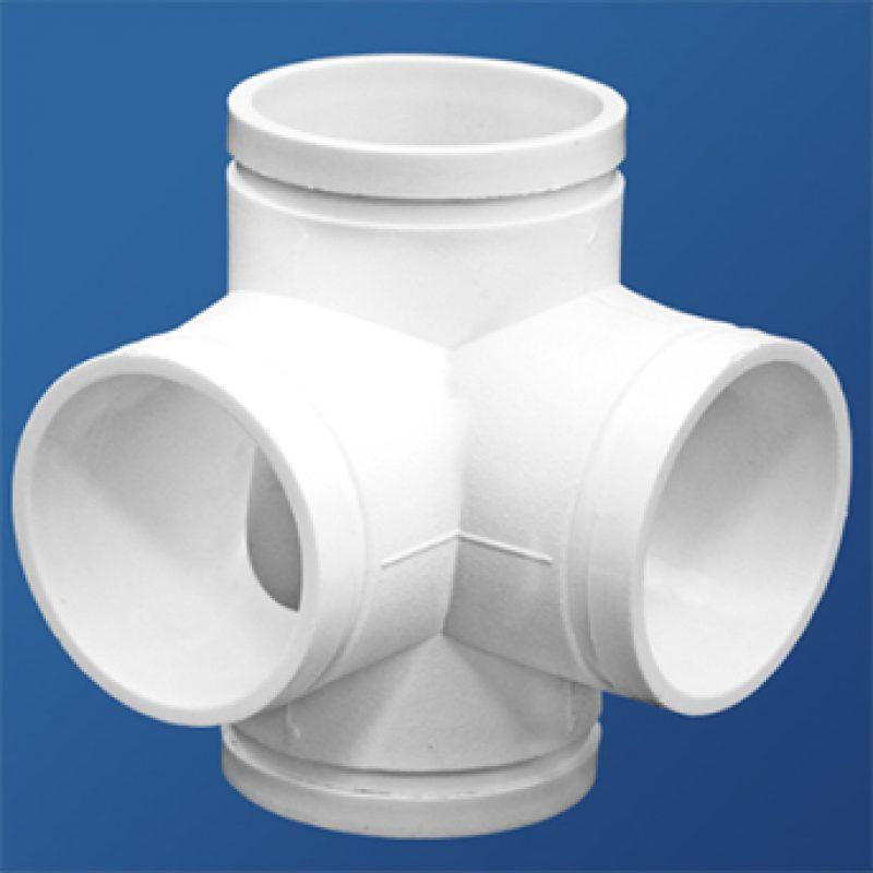 直角四通丨异径接头(变径)丨HDPE沟槽式连接静音管