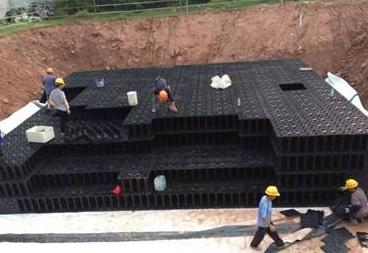 雨水收集系统中的PP模块组成的蓄水池工作原理