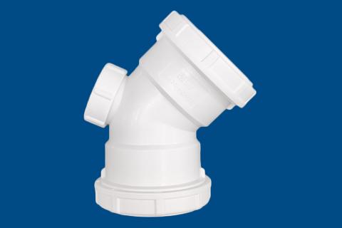 HDPE 45°弯头(有口)丨螺旋压盖静音管