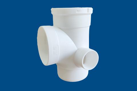 hdpe同层专用直角四通丨热熔承插静音排水管
