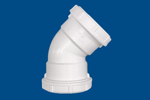 HDPE 45°弯头(无口)丨螺旋压盖静音管